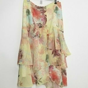 Vince Camuto Floral Print Tiered Skirt SZ4 W28